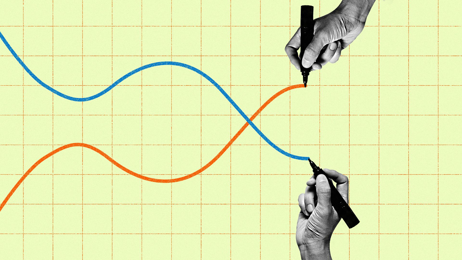 In this illustration, two hands draw parallel yield curves that rise and fall in opposite directions.