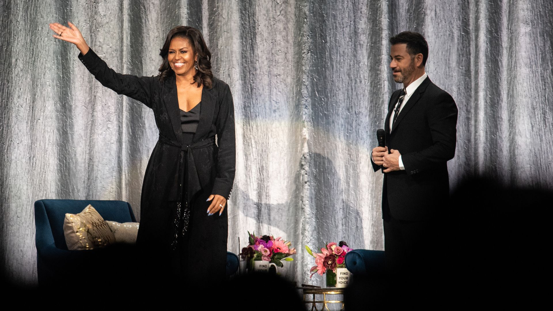 Michelle Obama with Jimmy Kimmel