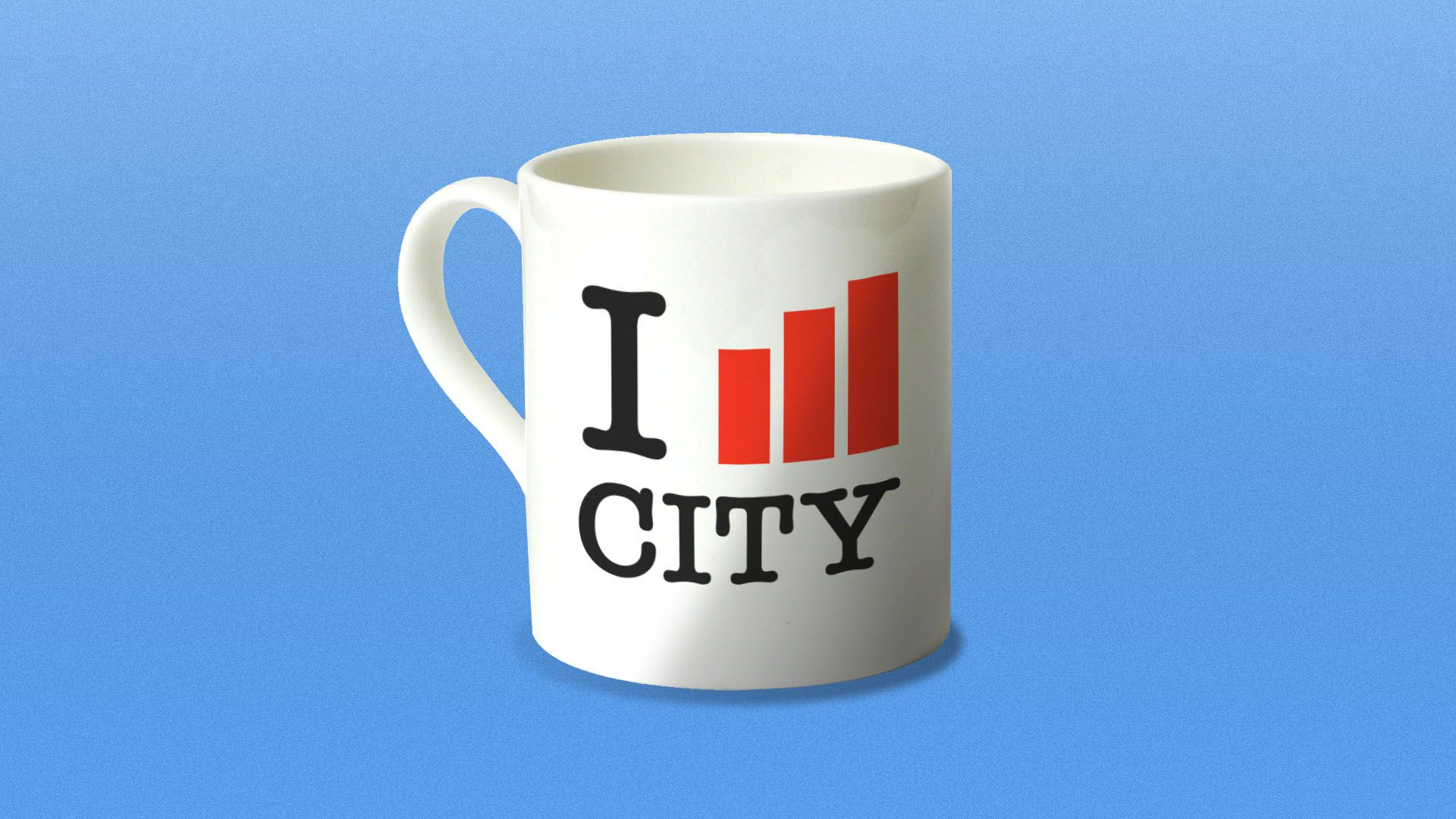 """Illustration of an iconic """"I heart city"""" mug with a bar graph in place of the heart"""
