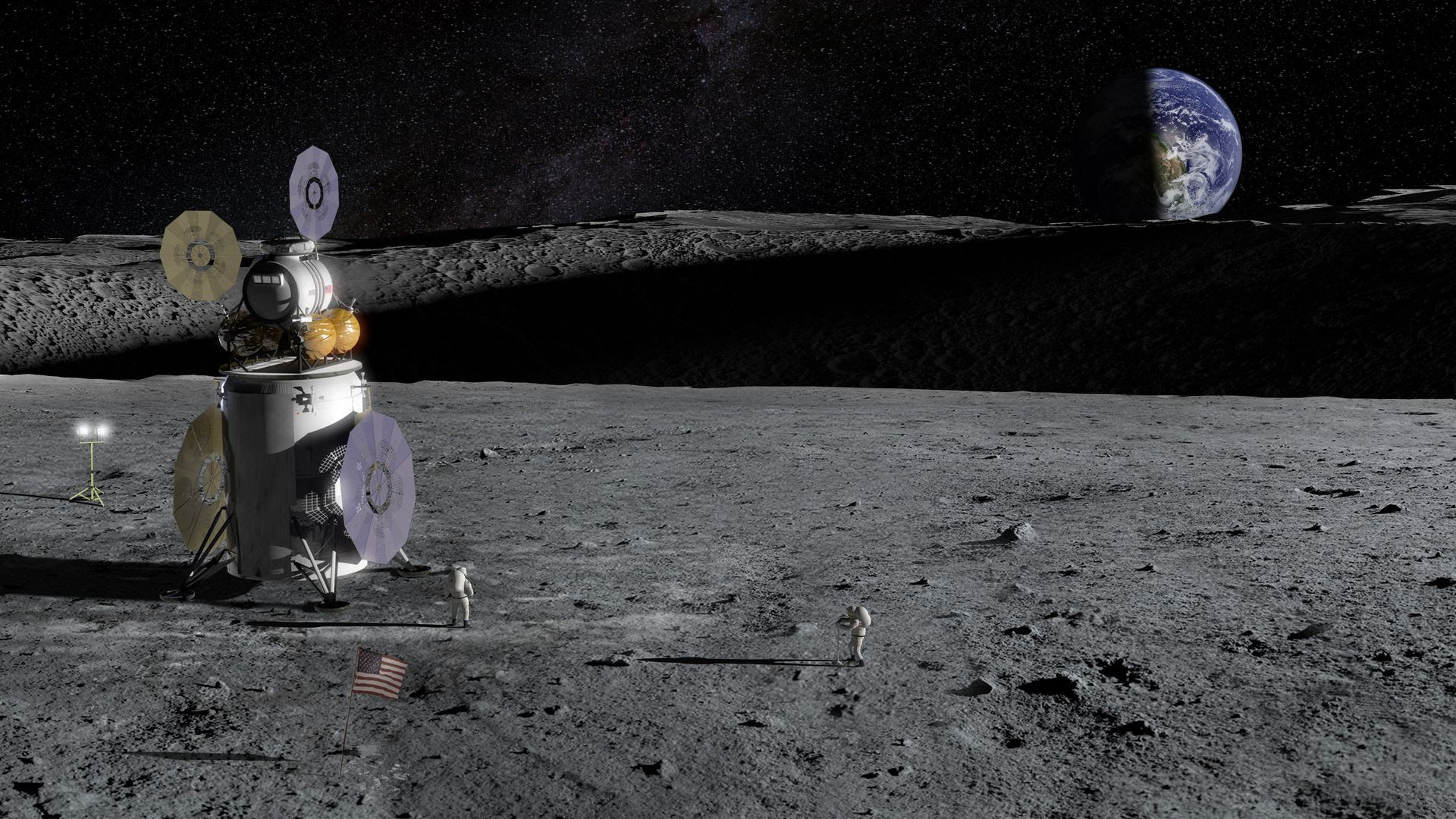 Illustration of a lander and astronauts on the moon. Photo: NASA