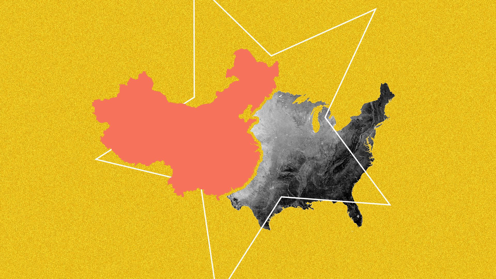 An illustration of China map and U.S. map overlapping.