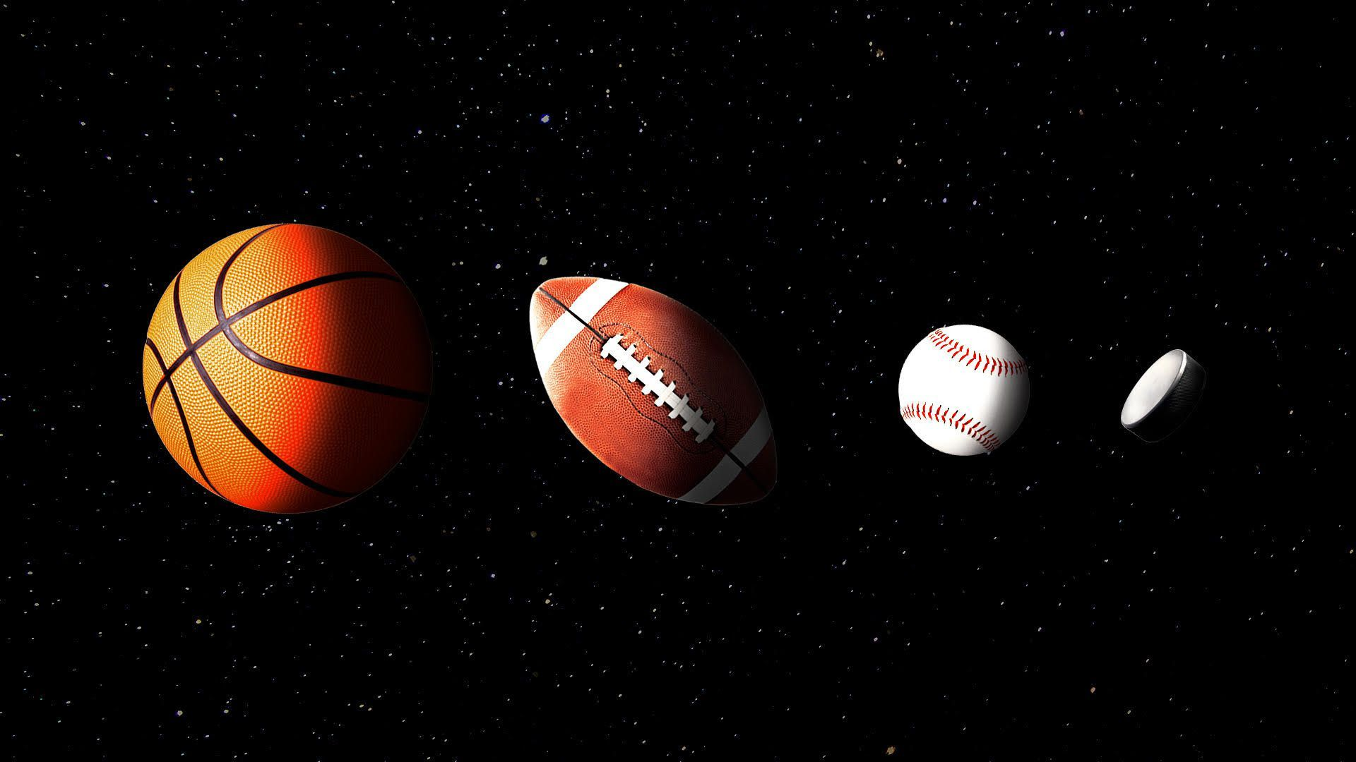 An illustration of a hockey puck, baseball, football and basketball all aligning like planets in space