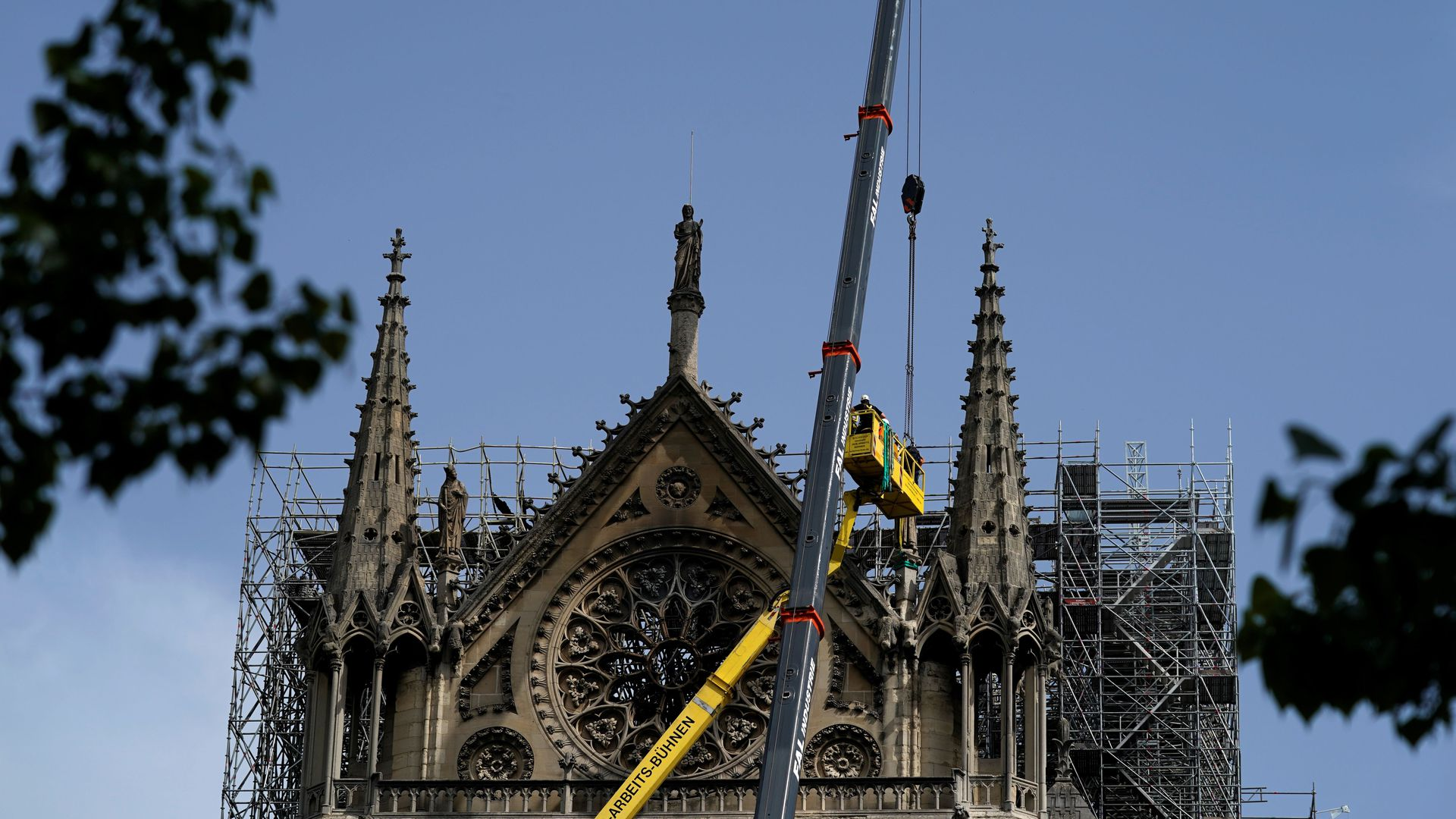 Construction on the Notre Dame cathedral.