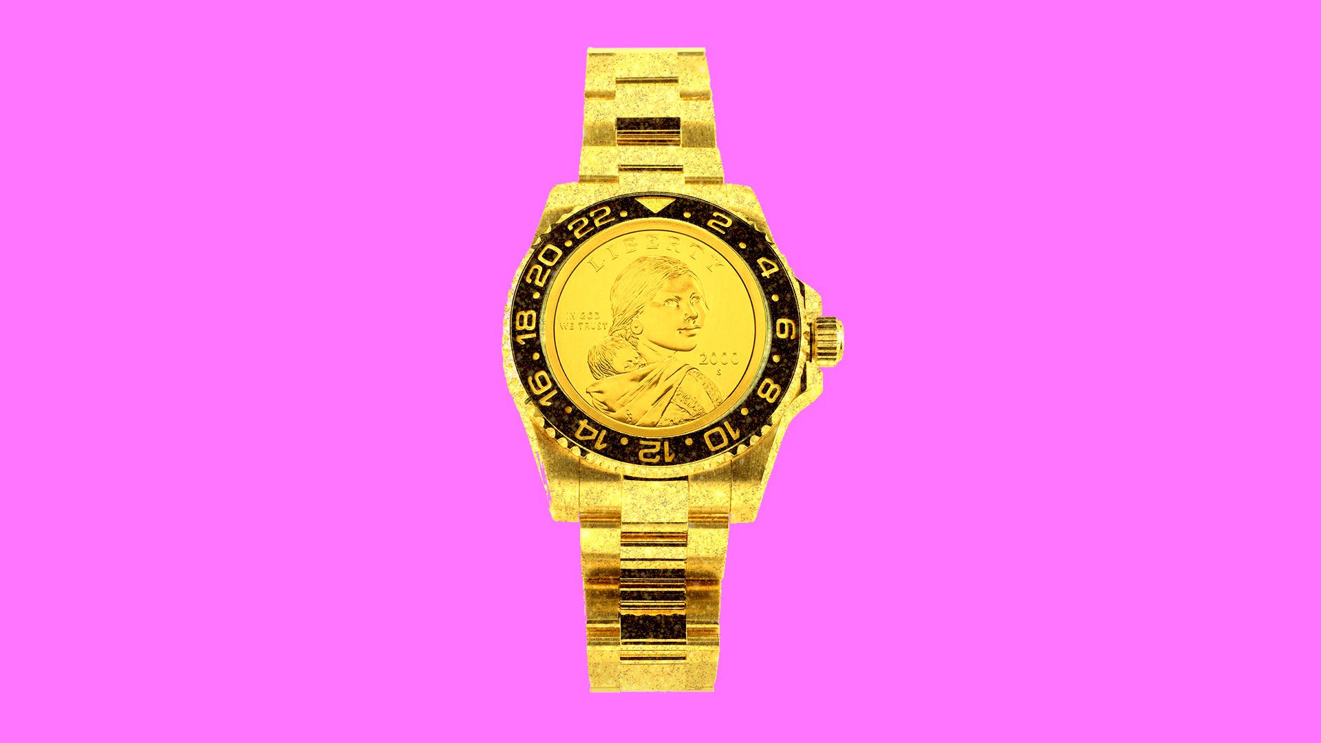 Illustration of a gold watch with a dollar coin as the face.