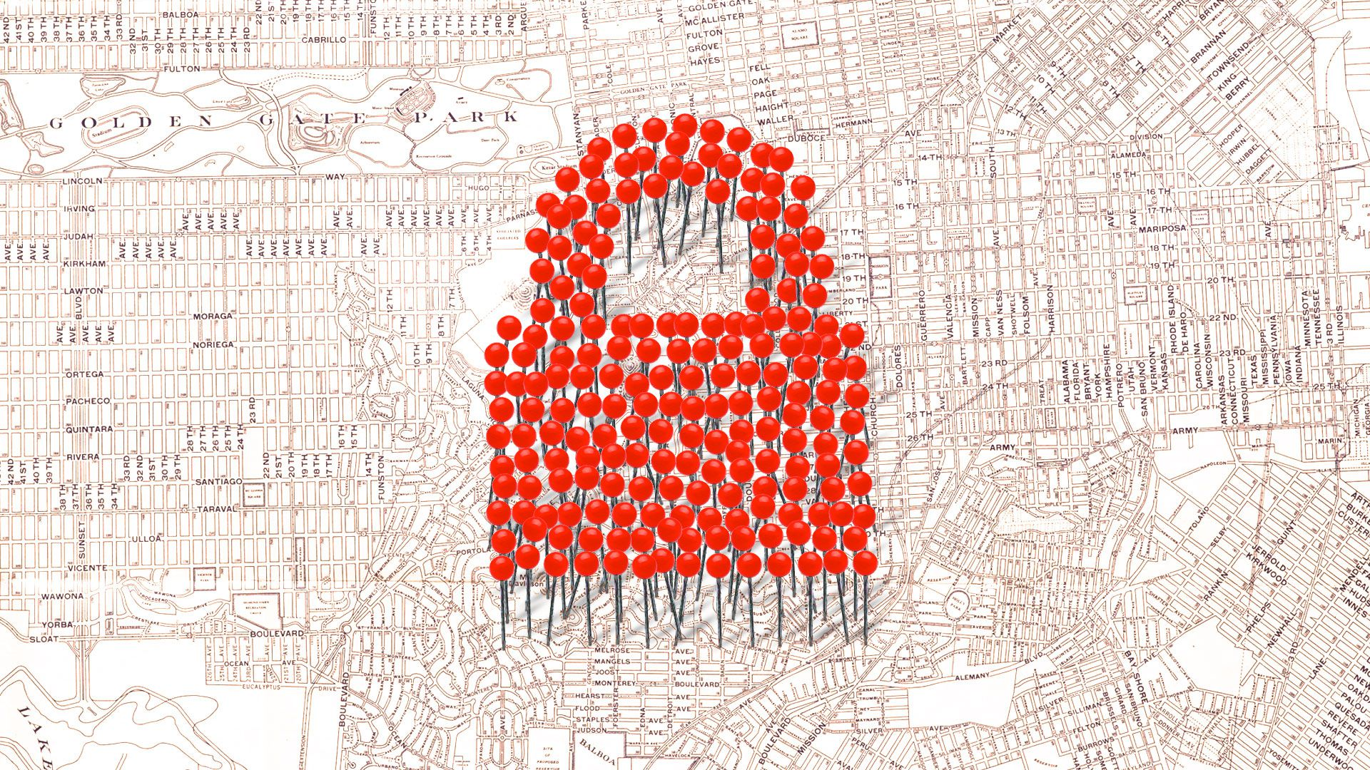 Illustration with pushpins forming a lock over an antique map of San Francisco
