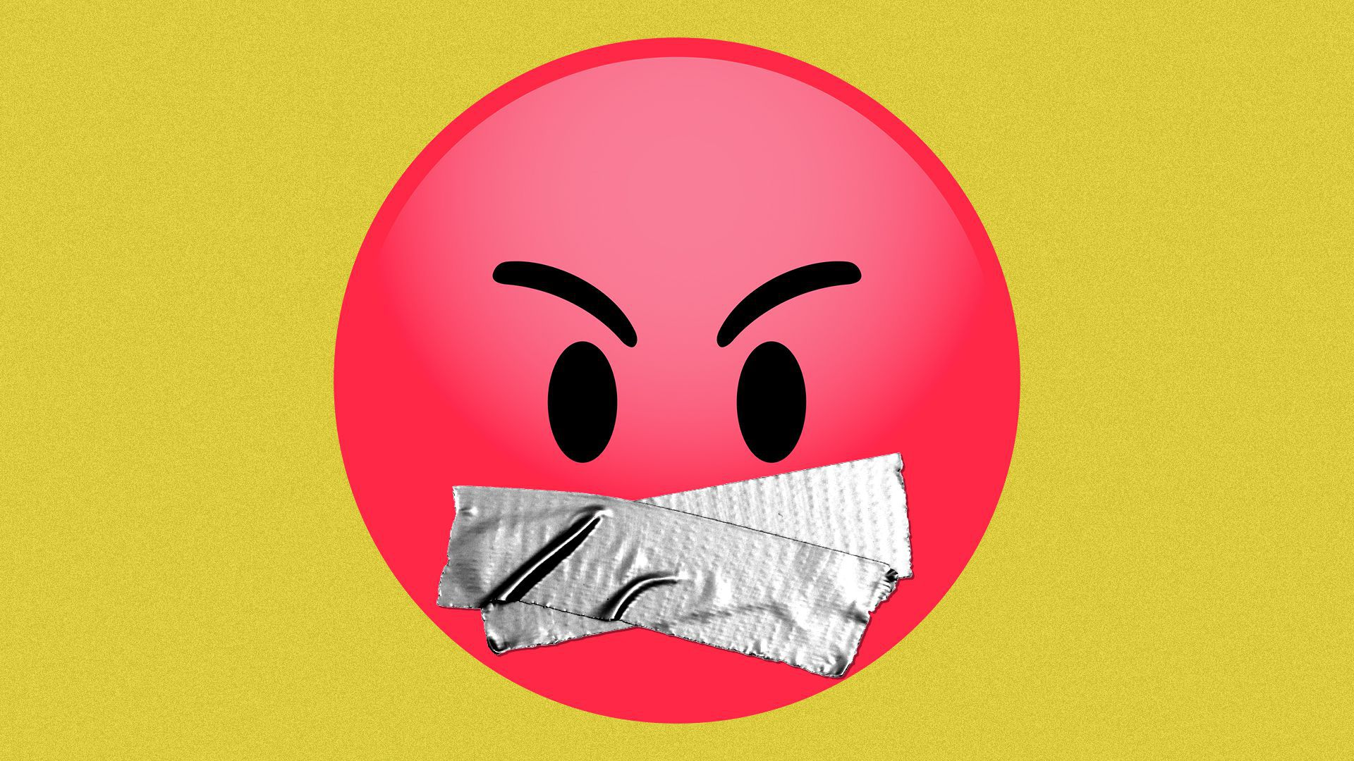 Illustration of an angry emoji with duct tape over its mouth.
