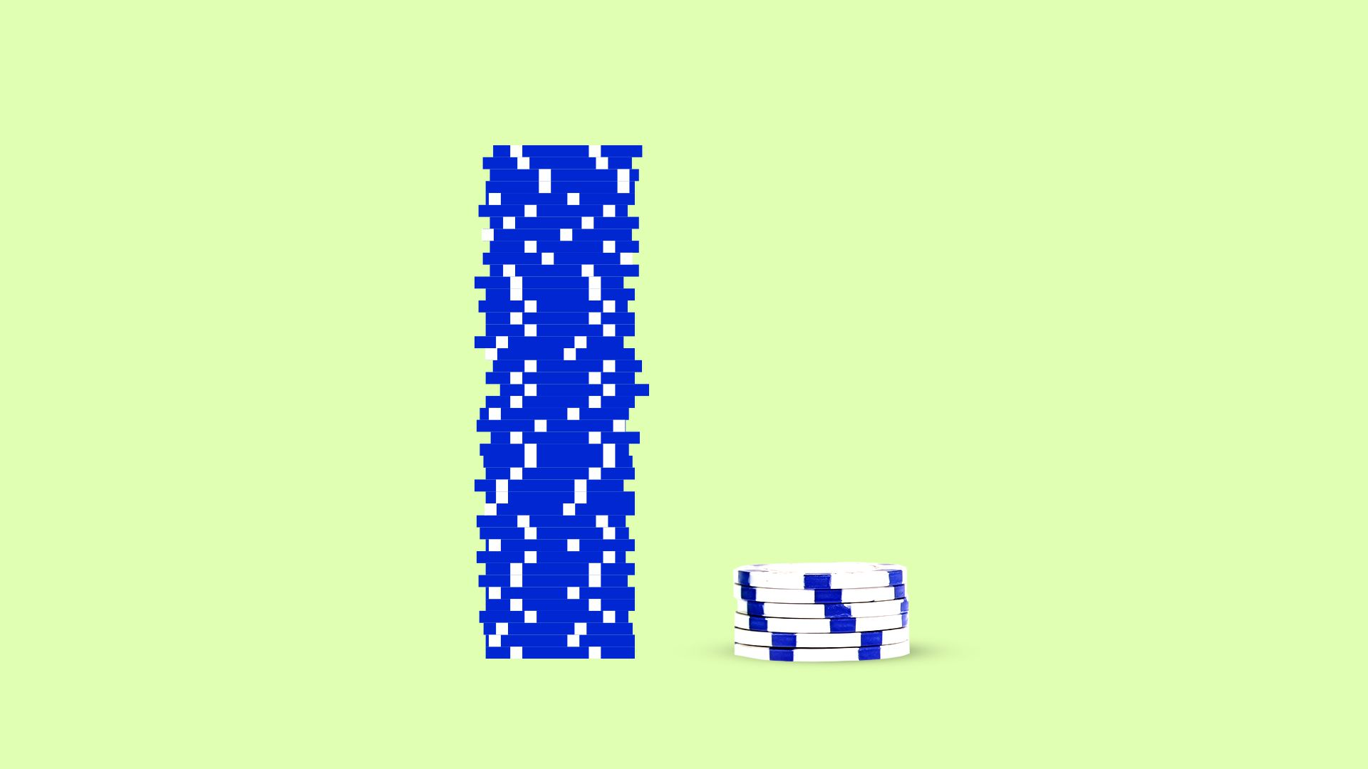 Illustration of a stack of digital poker chips next to a smaller stack of real poker chips