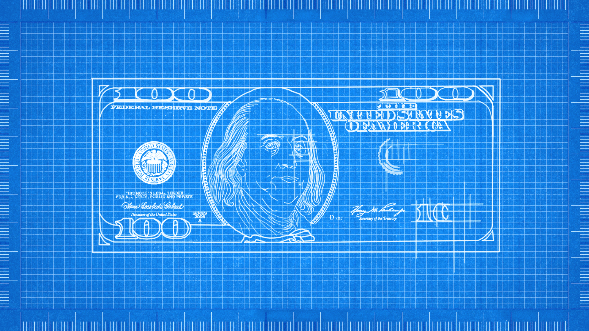 Illustration of a blueprint drawing of an uncompleted hundred dollar bill