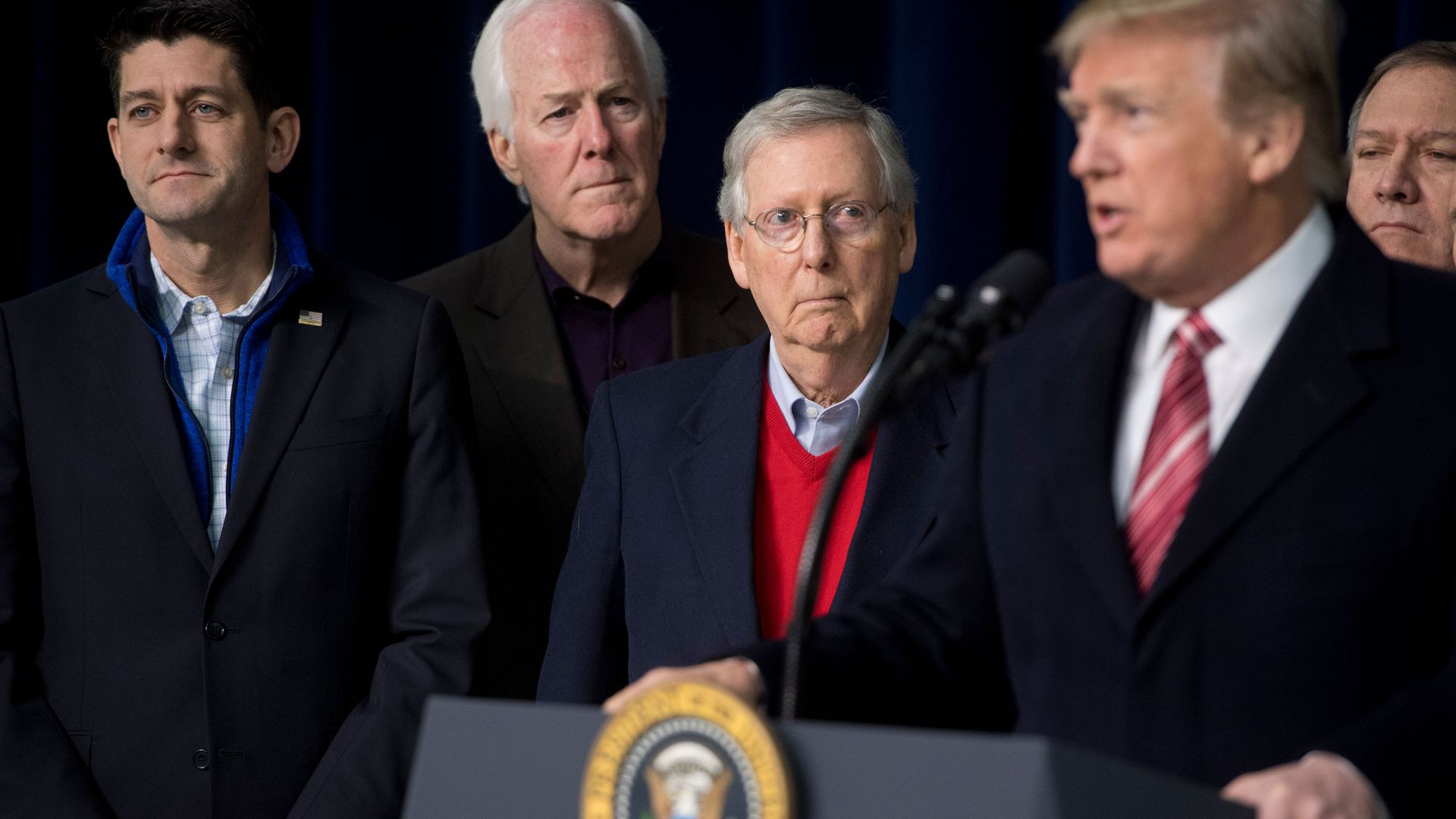 Sens. John Cornyn and Mitch McConnell with President Trump