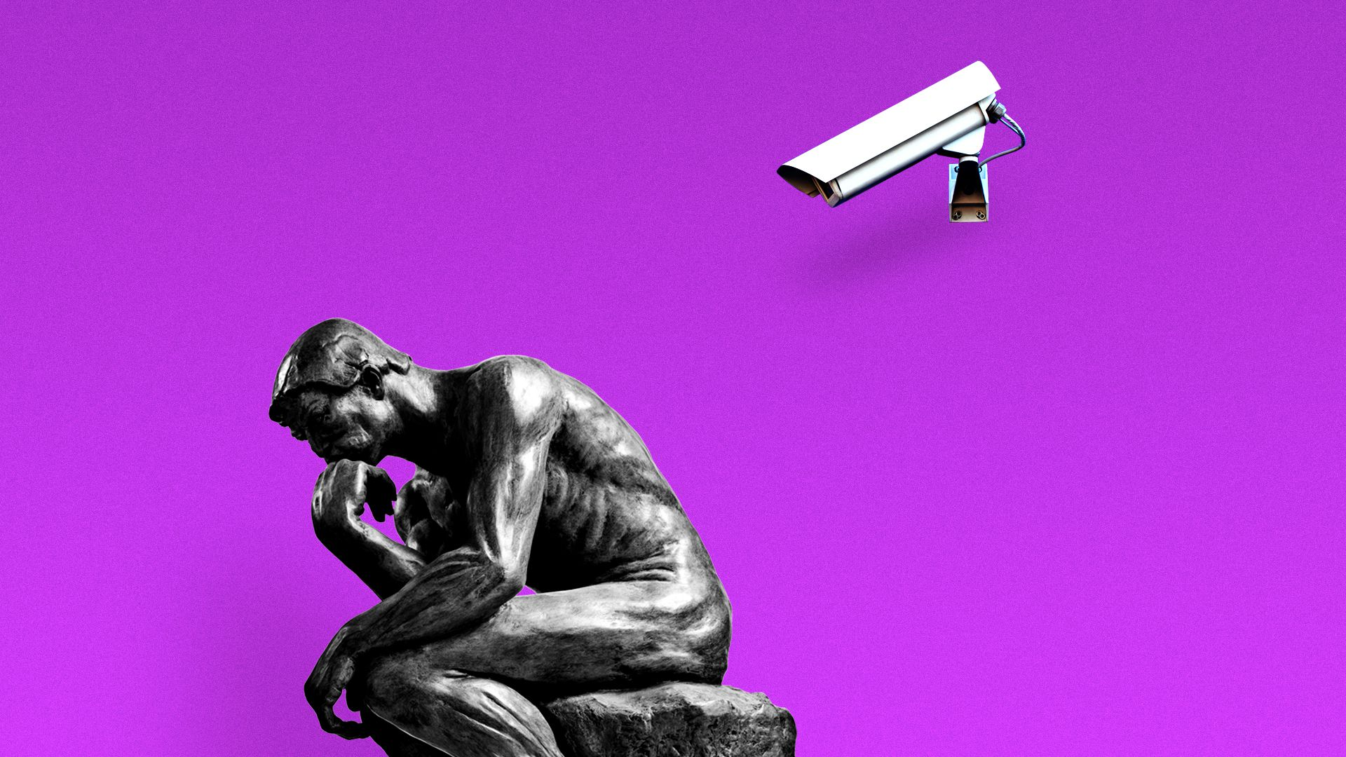 Rodin's 'The Thinker' being watched by CCTV