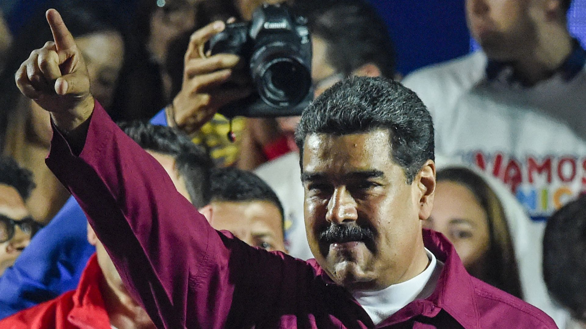 Venezuelan President Nicolas Maduro gestures after the National Electoral Council (CNE) announced the results of the voting on election day in Venezuela, on May 20, 2018.
