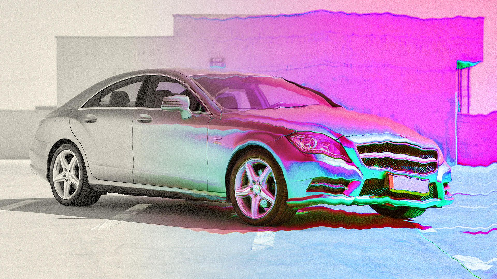 "a stopped car, with colors morphing from ""real world"" to colorful virtual world"