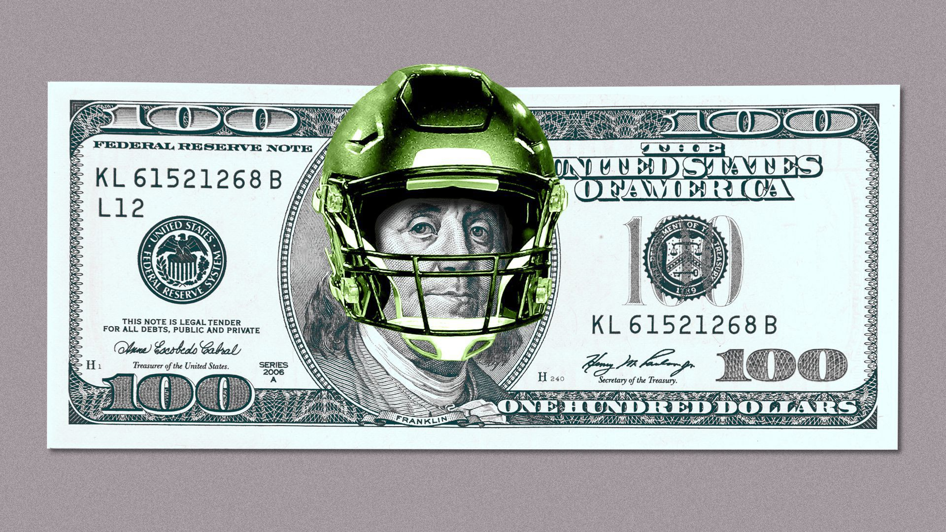 A photo illustration of a $100 bill with a football helmet.