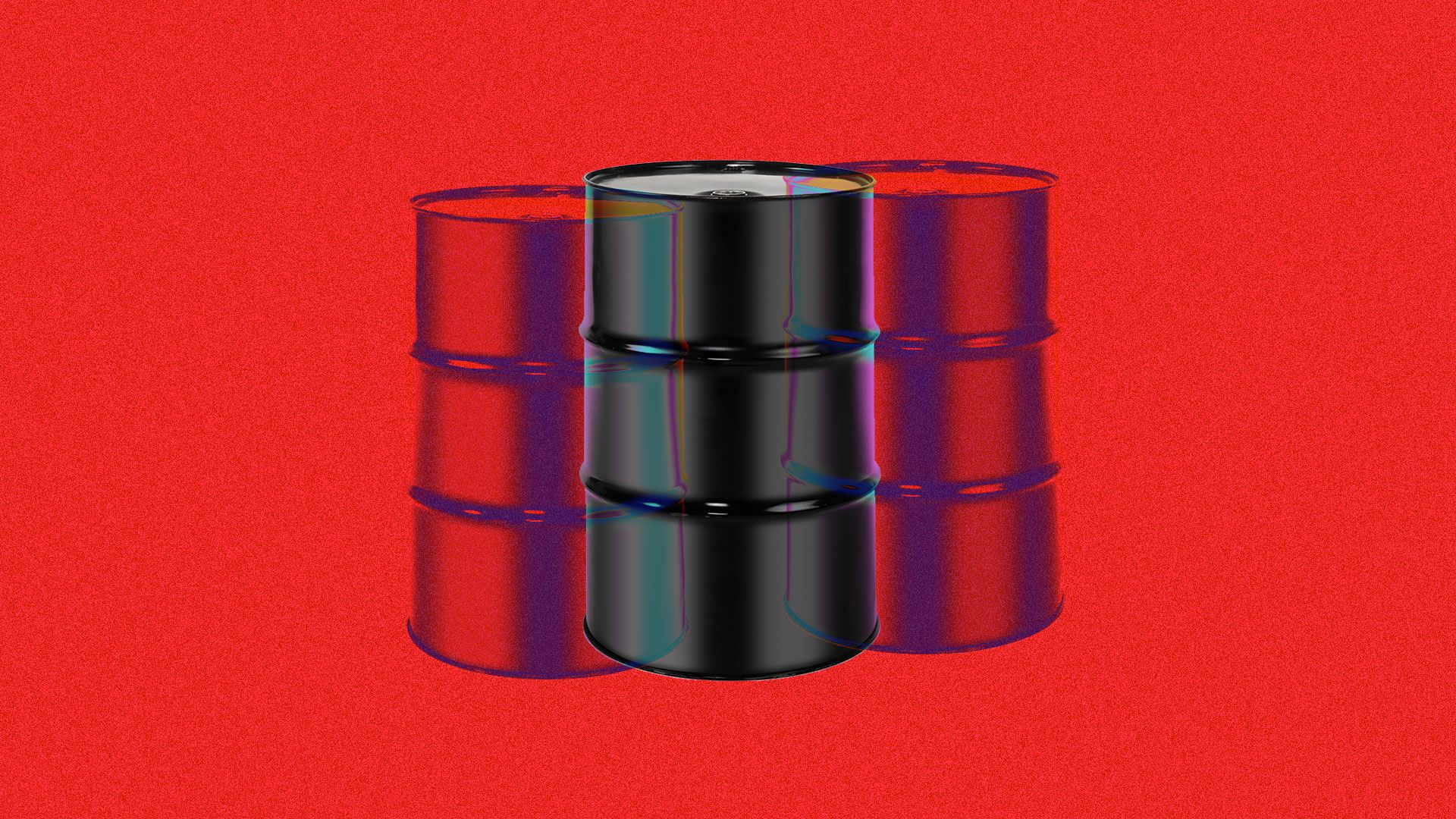 Illustration of an oil barrel seen double in psychedelic colors.