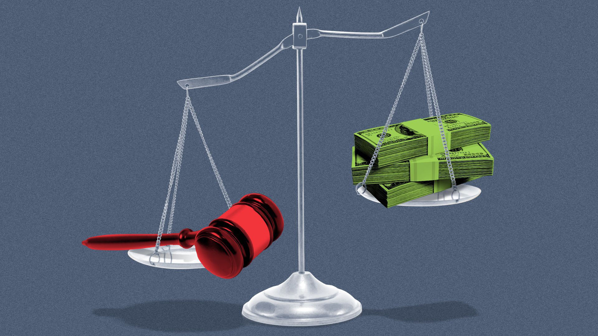 Illustration of the scales of justice with a gavel on one side and stacks of cash on the other.
