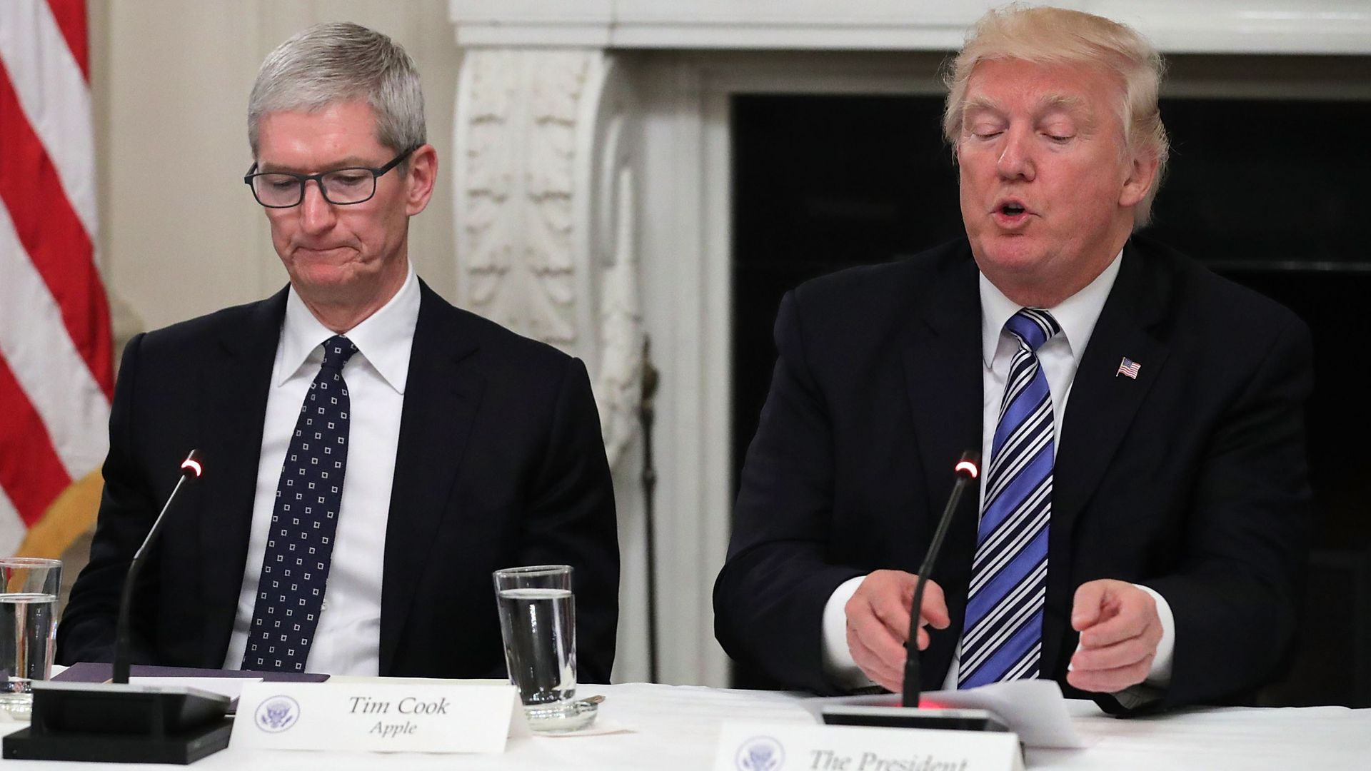 Apple CEO Tim Cook in a 2017 meeting at the White House with President Trump.