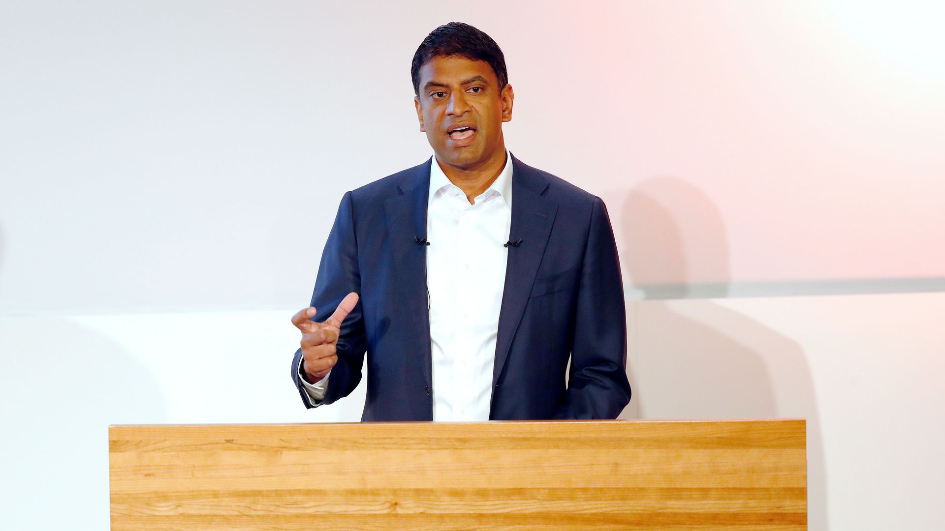 Novartis CEO Vas Narasimhan talks at a forum.