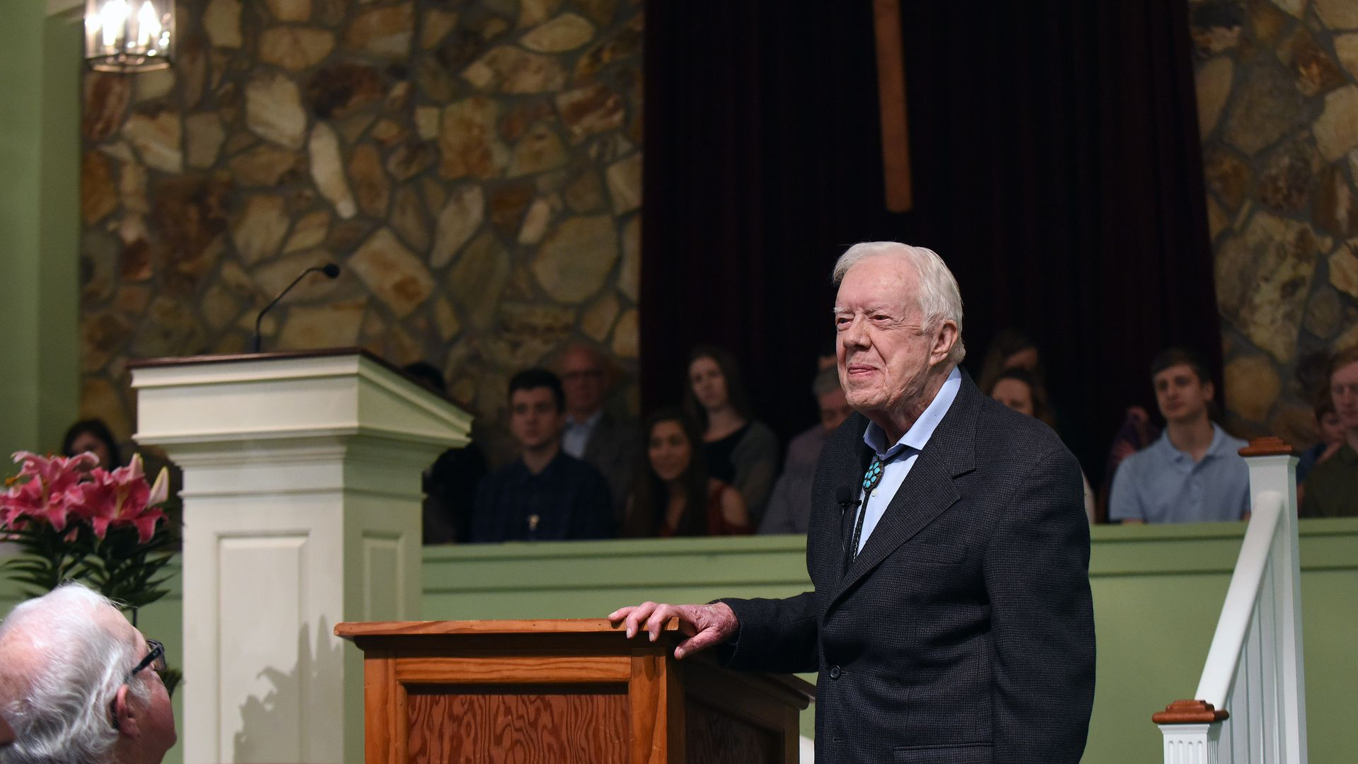 Former U.S. President Jimmy Carter speaks to the congregation at Maranatha Baptist Church before teaching Sunday school in his hometown of Plains, Georgia.