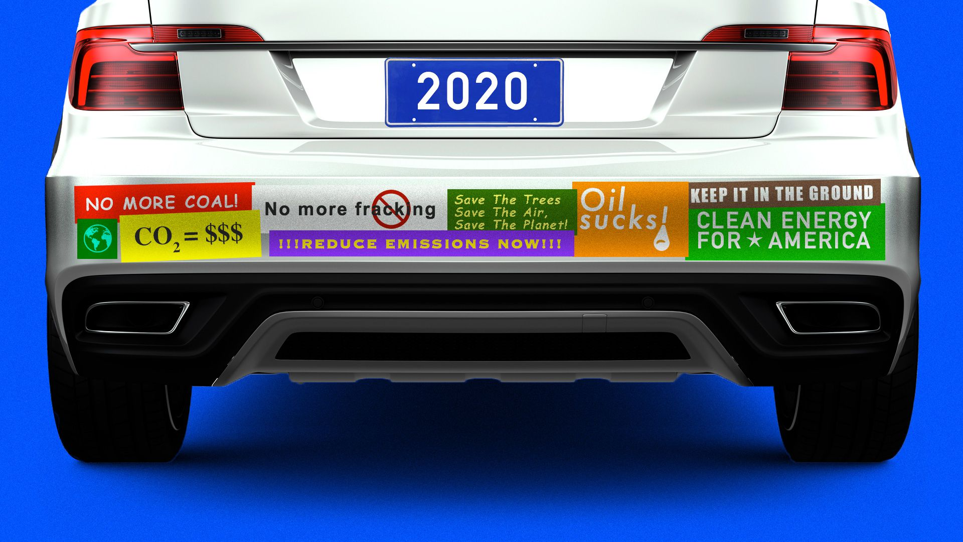 A car overloaded with climate change bumper stickers