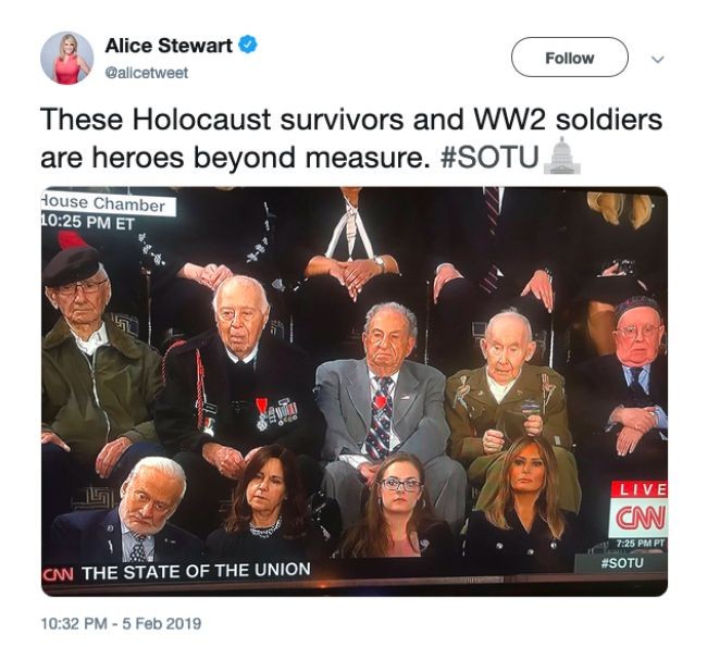 A tweet showing World War II veterans