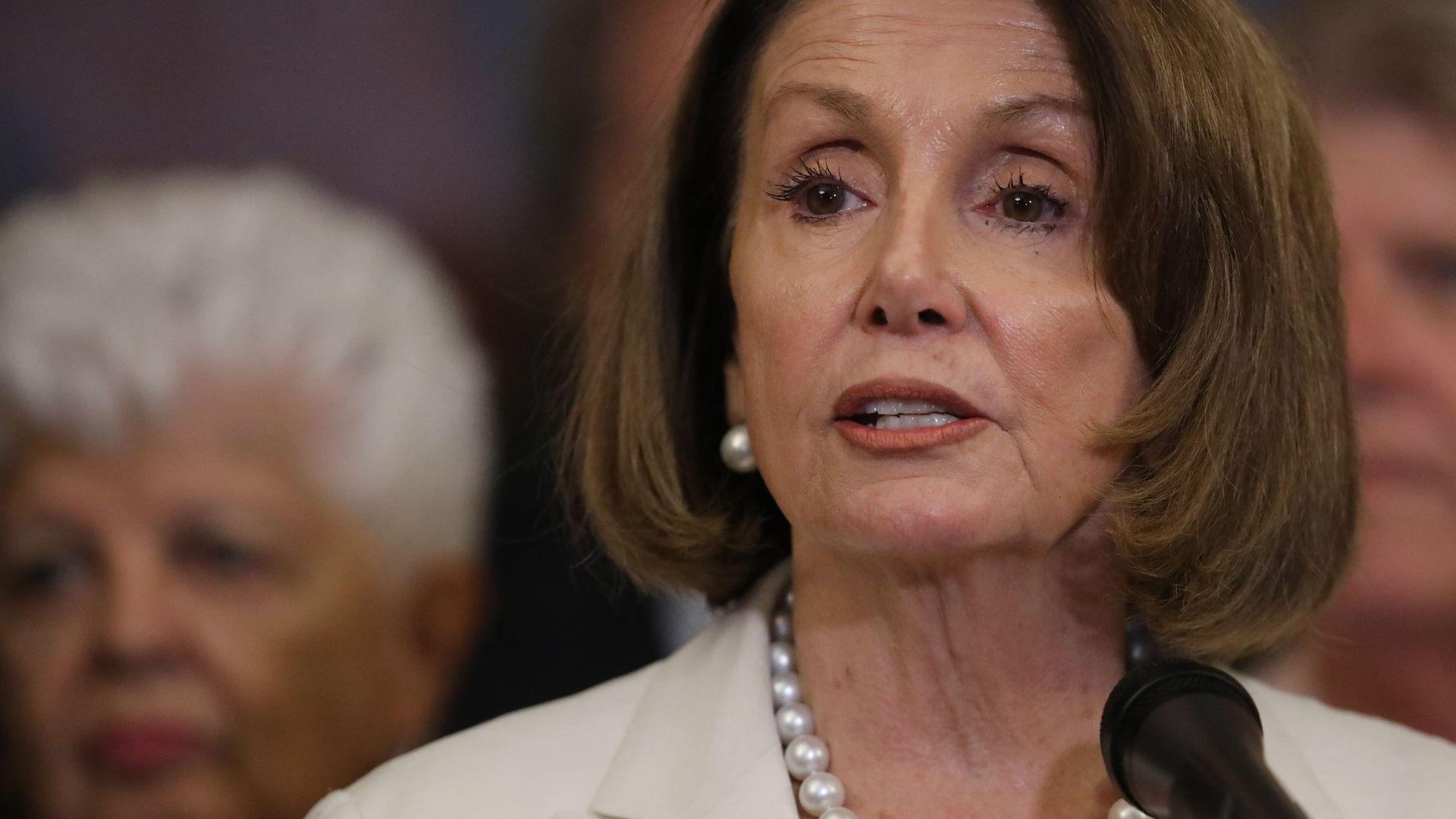 House Minority Leader Nancy Pelosi speaks on Capitol Hill