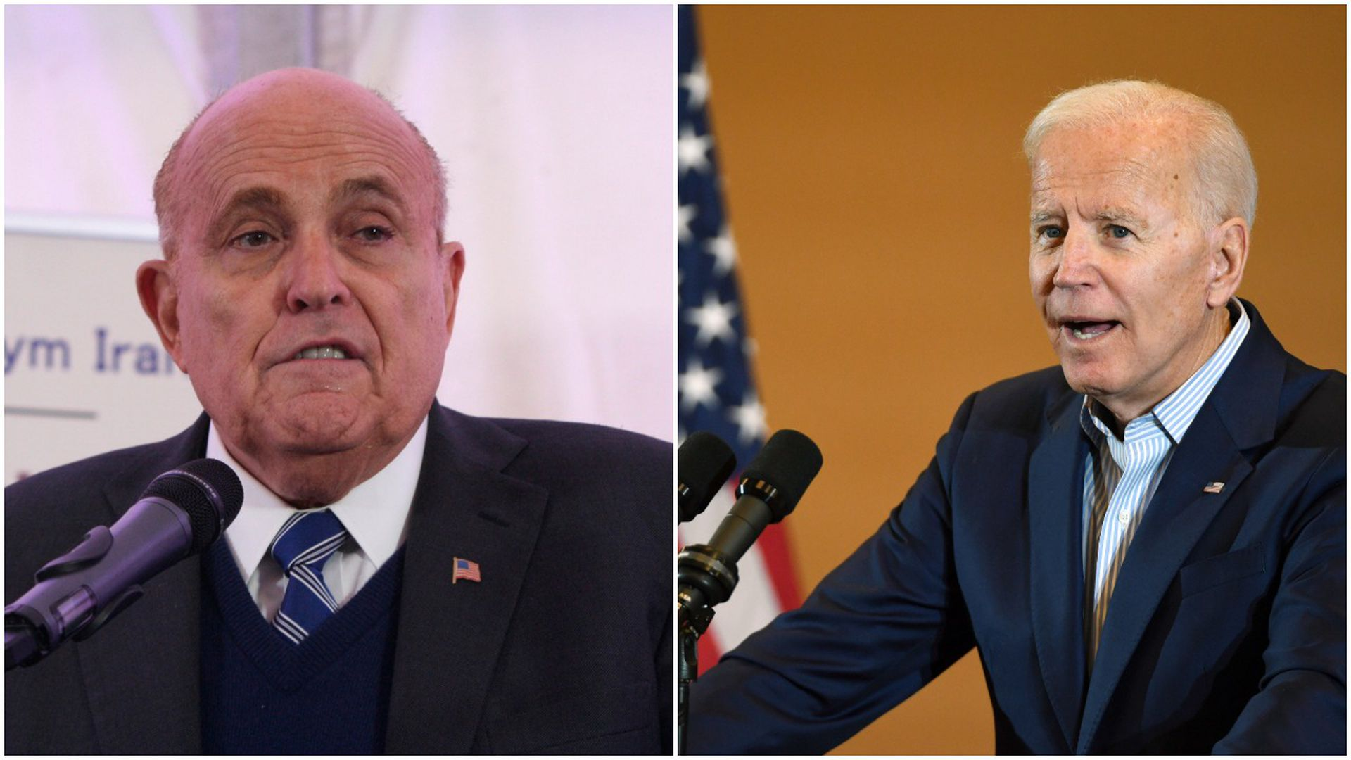 This image is a split screen between Giuliani and Biden.
