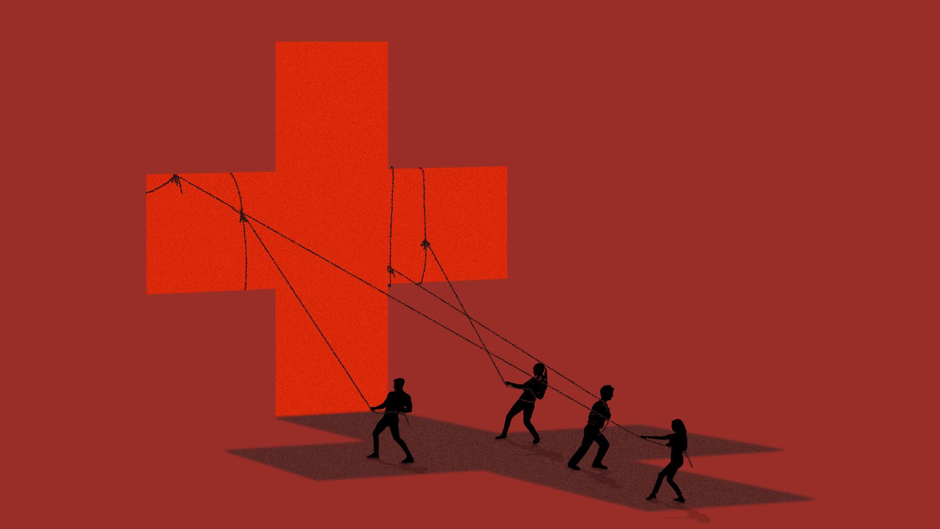 Illustration of figures pulling up a healthcare cross.