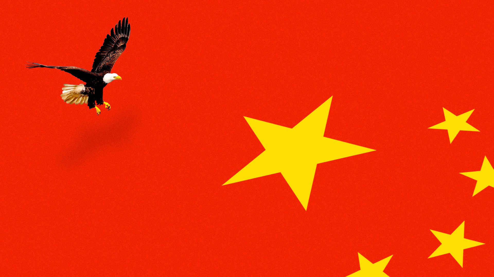 An American Eagle lands on a Chinese flag.