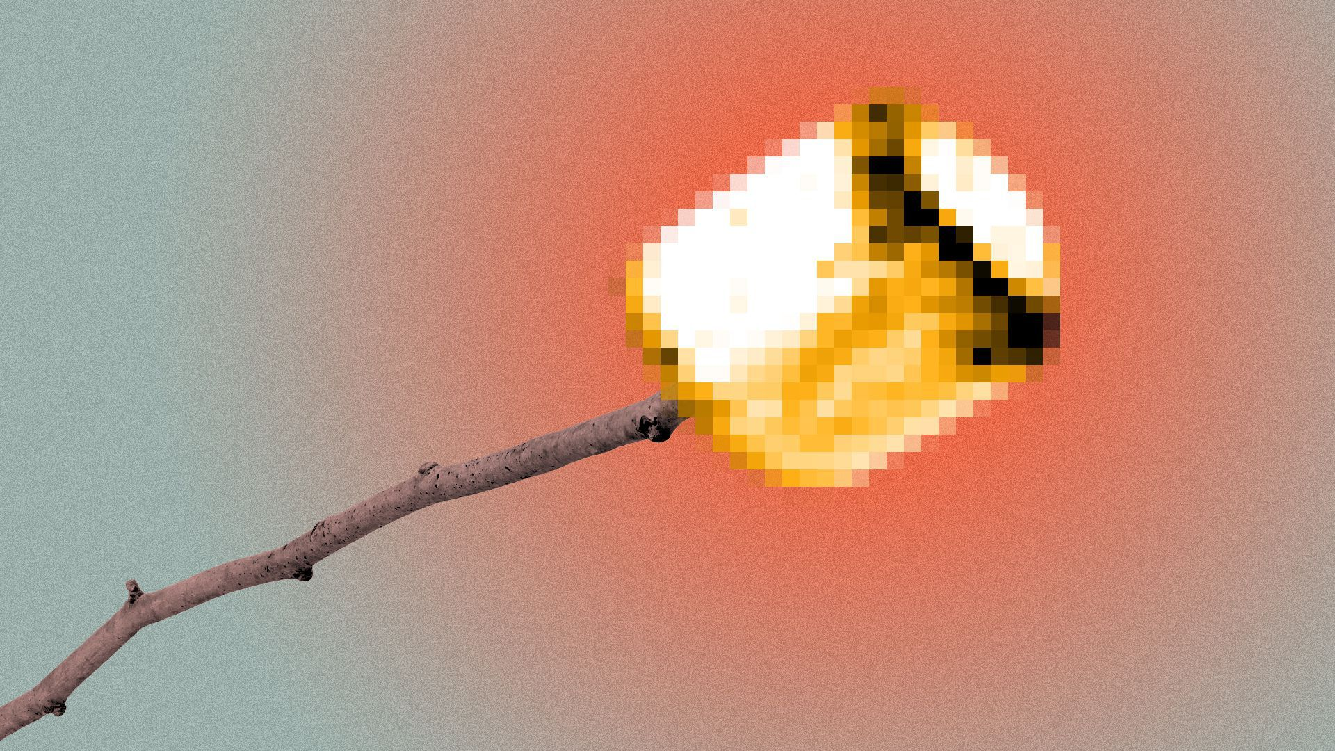 Illustration of a pixelated marshmallow roasting on a stick.