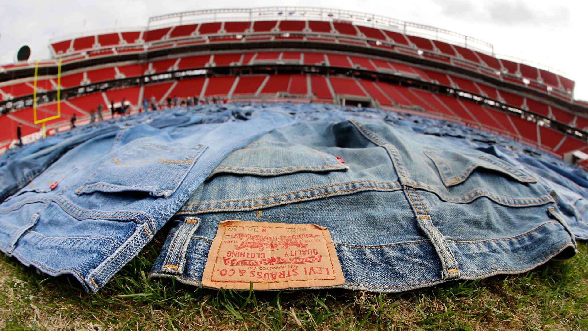 Levi Jeans on a football field