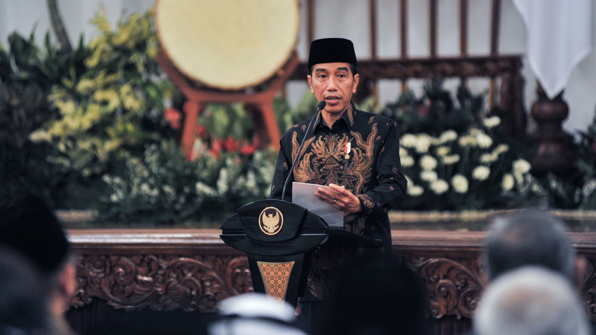 Indonesian President Joko Widodo speechs during Nuzulul Quran event at Presidential Merdeka Palace in Jakarta, Indonesia on June 5, 2018.