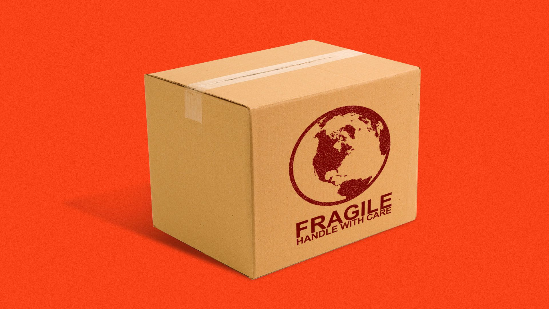 "Illustration of a package with an earth logo on it and the words ""fragile, handle with care"""