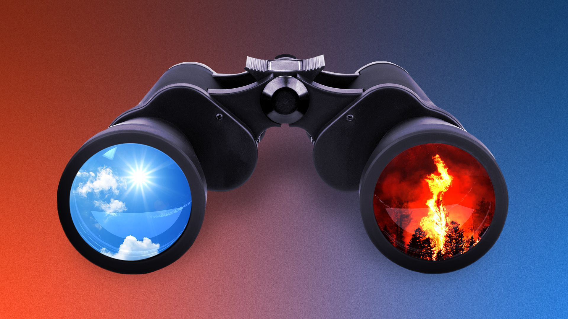 Illustration of binoculars. One lensis a sunny blue sky, the othershows a wildfire.