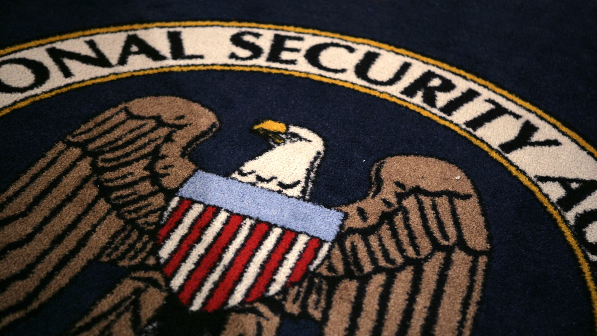 NSA logo on rug.