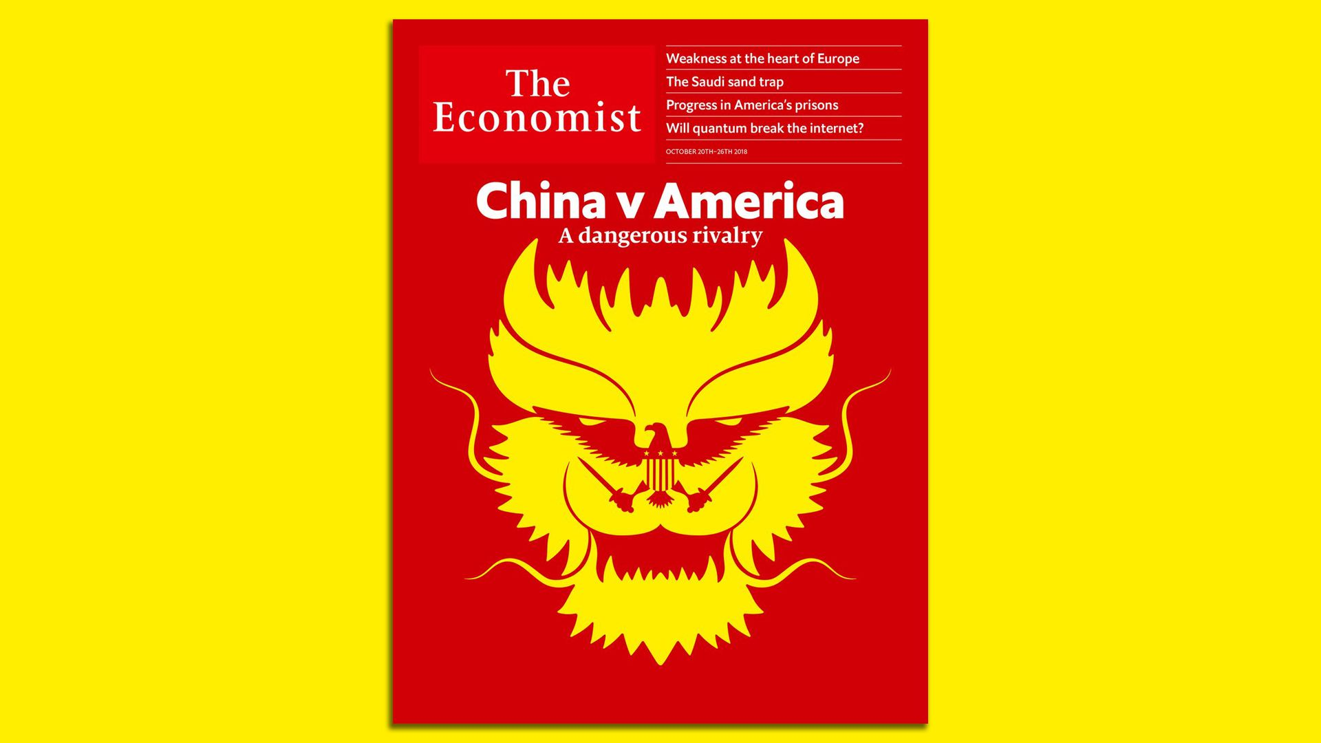The Economist cover picture, showing a yellow ferocious-looking dragon on a red background