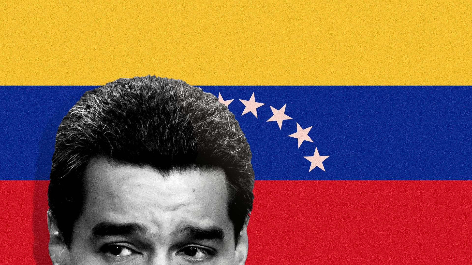 Illustration of President Venezuelan President Nicolas Maduro over Venezuelan flag