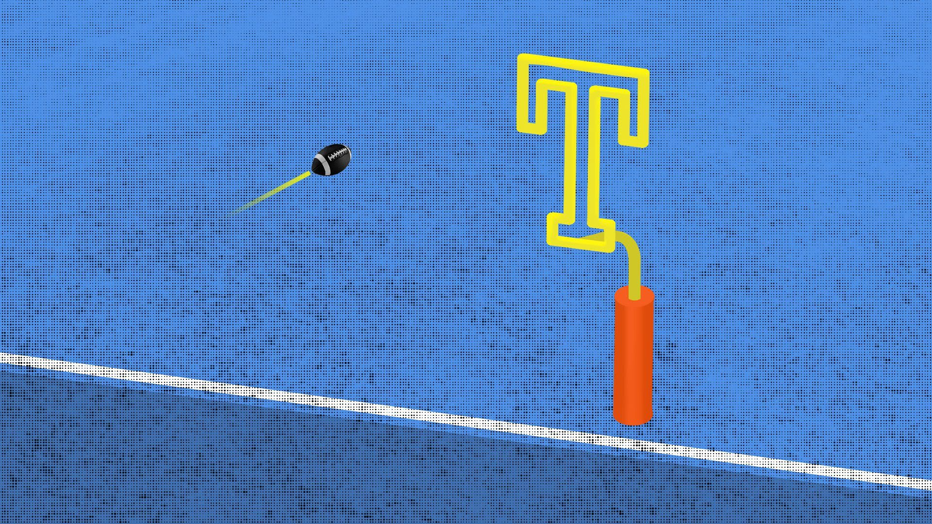 An illustration of a football heading toward a goal post in the shape of a capital T