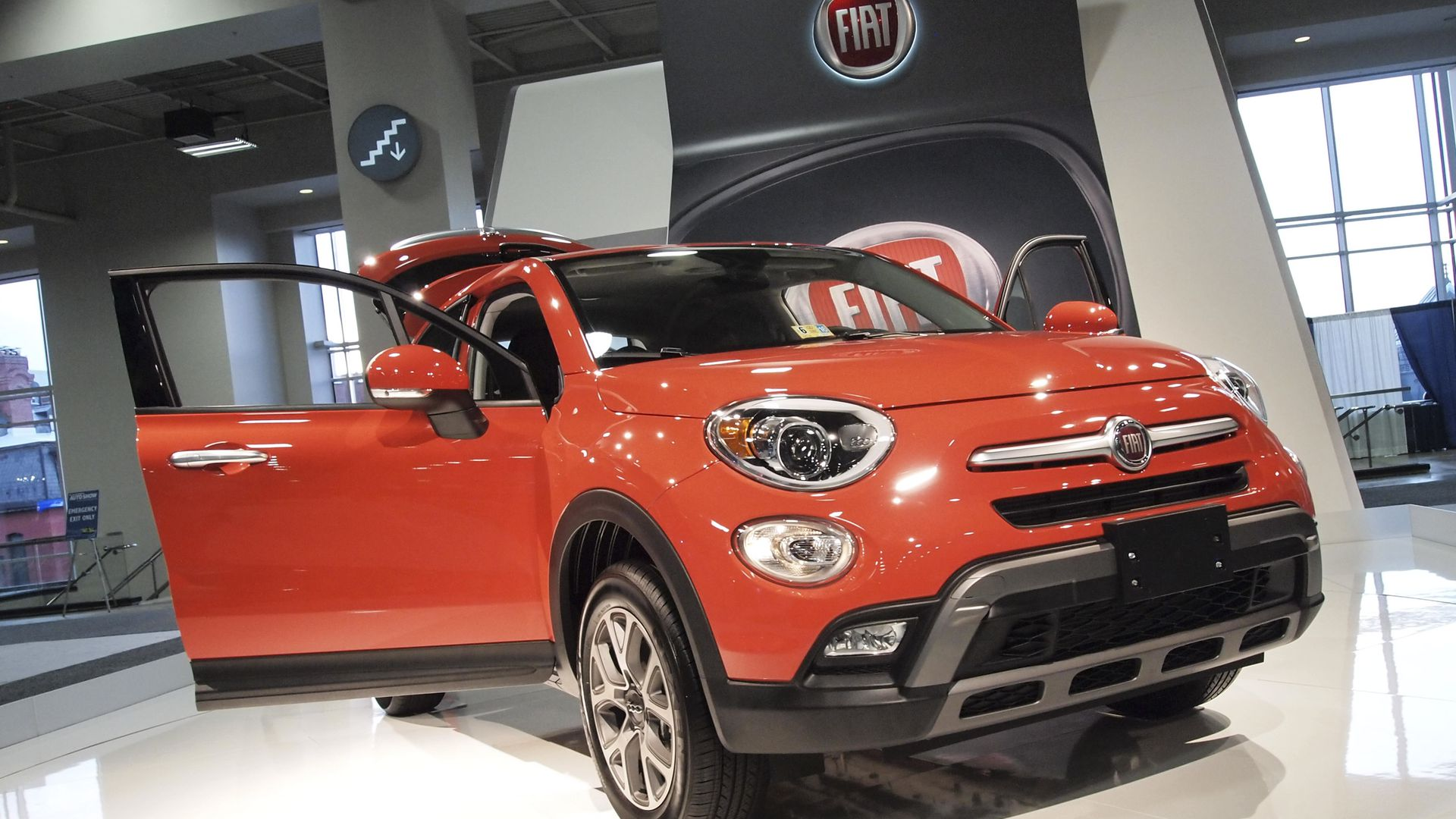 A 2016 Fiat crossover is on display during the Washington Auto Show at the Washington Auto Show in Washington DC on January 28, 2016.