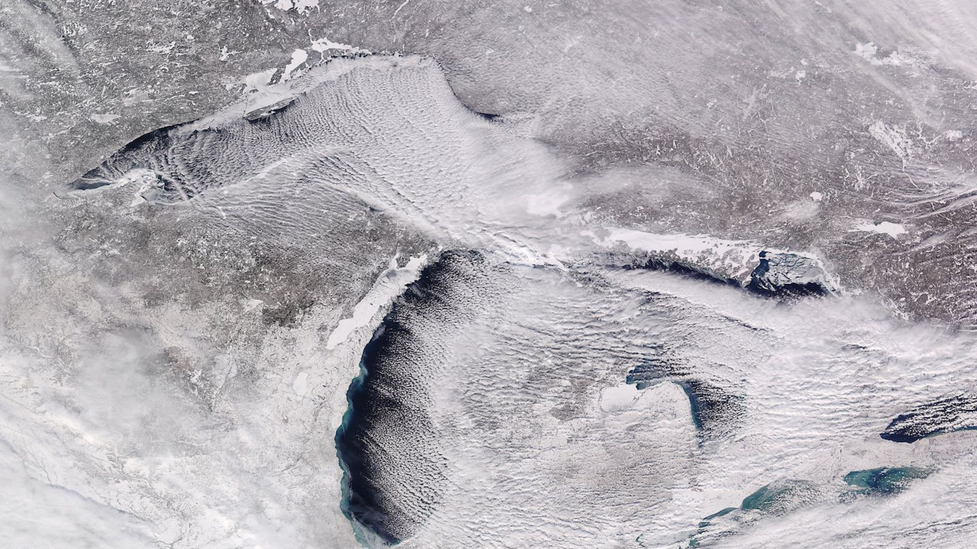 Satellite view of a frozen Great Lakes region on Jan. 28, 2019.