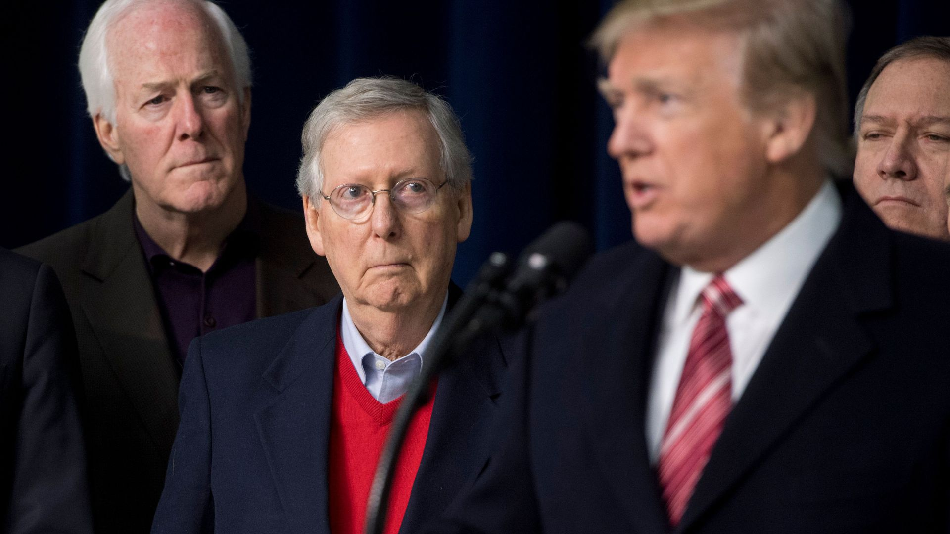 John Cornyn, Mitch McConnell and Donald Trump