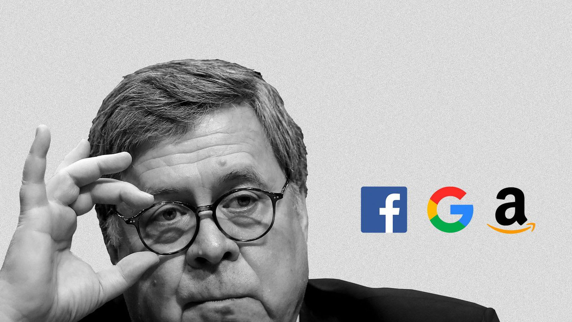 Illustration of Attorney General William Barr eyeing logos of Facebook, Google, and Amazon