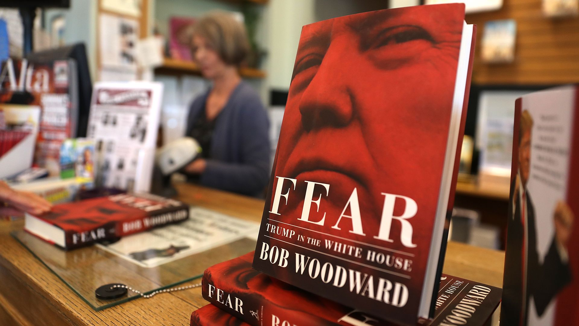 A copy of Bob Woodward's book at a book store.