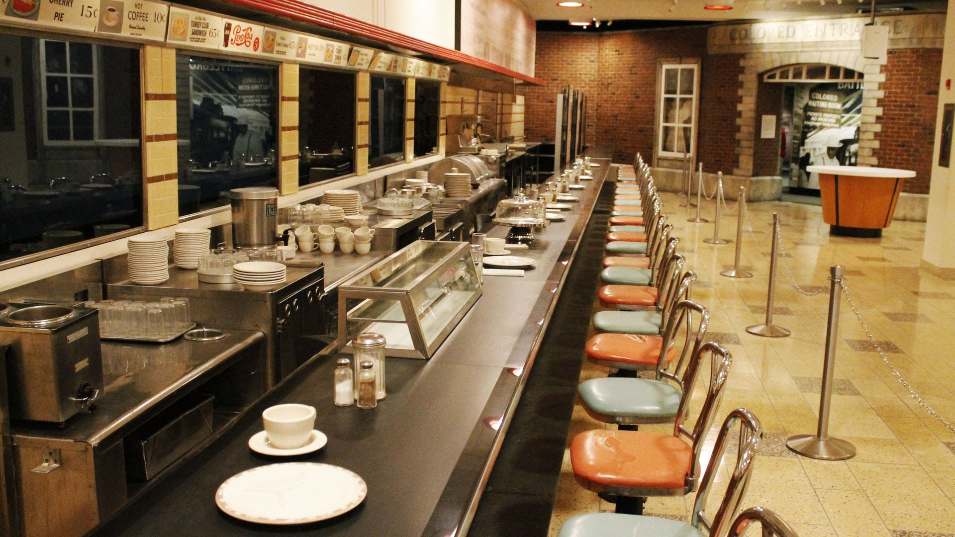 The F.W. Woolworth's lunch counter, as seen at the International Civil Rights Center & Museum in Greensboro, N.C., part of the new U.S. Civil Rights Trail.