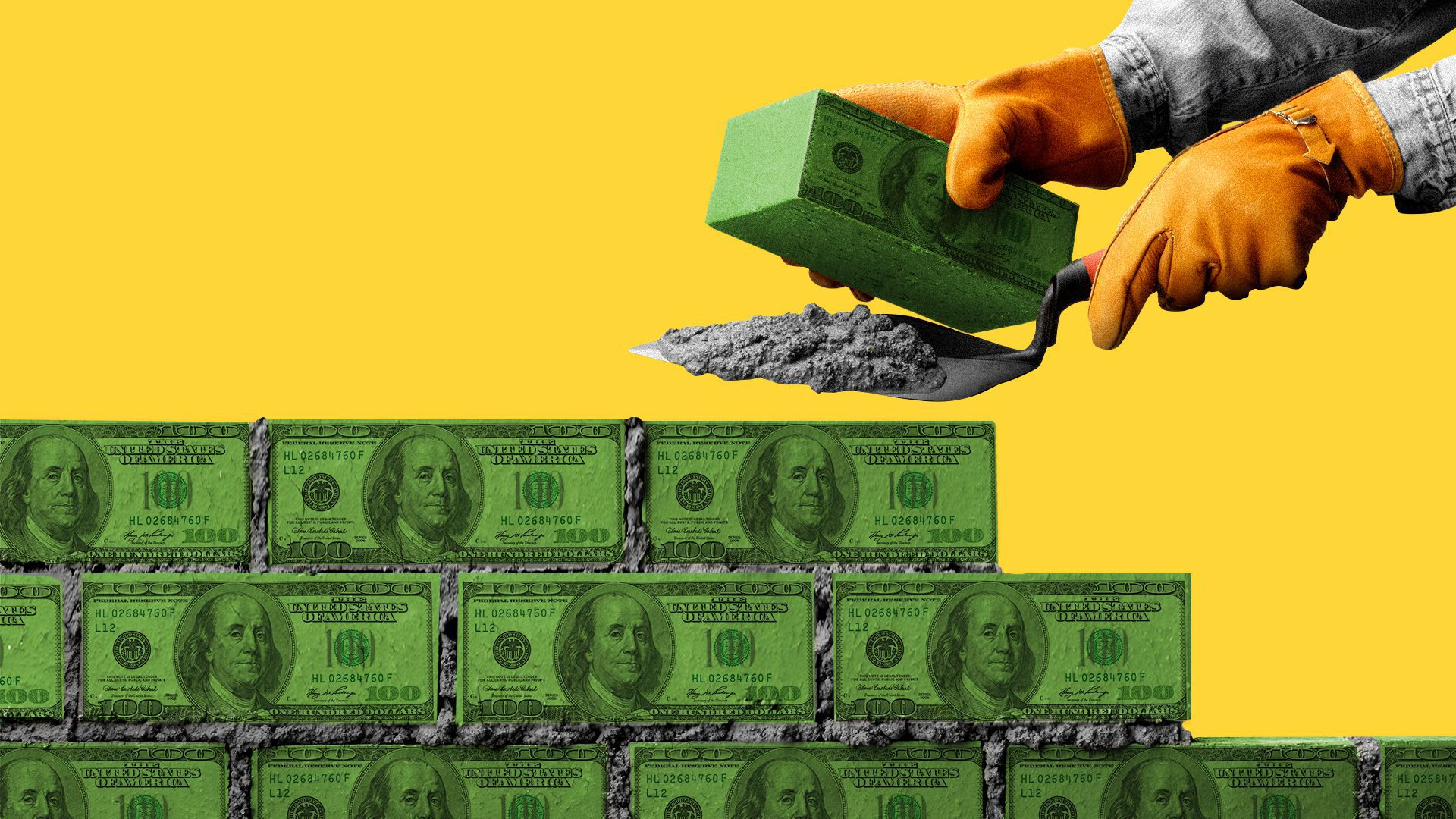 Illustration of a pair of hands laying down bricks made of hundred dollar bills.