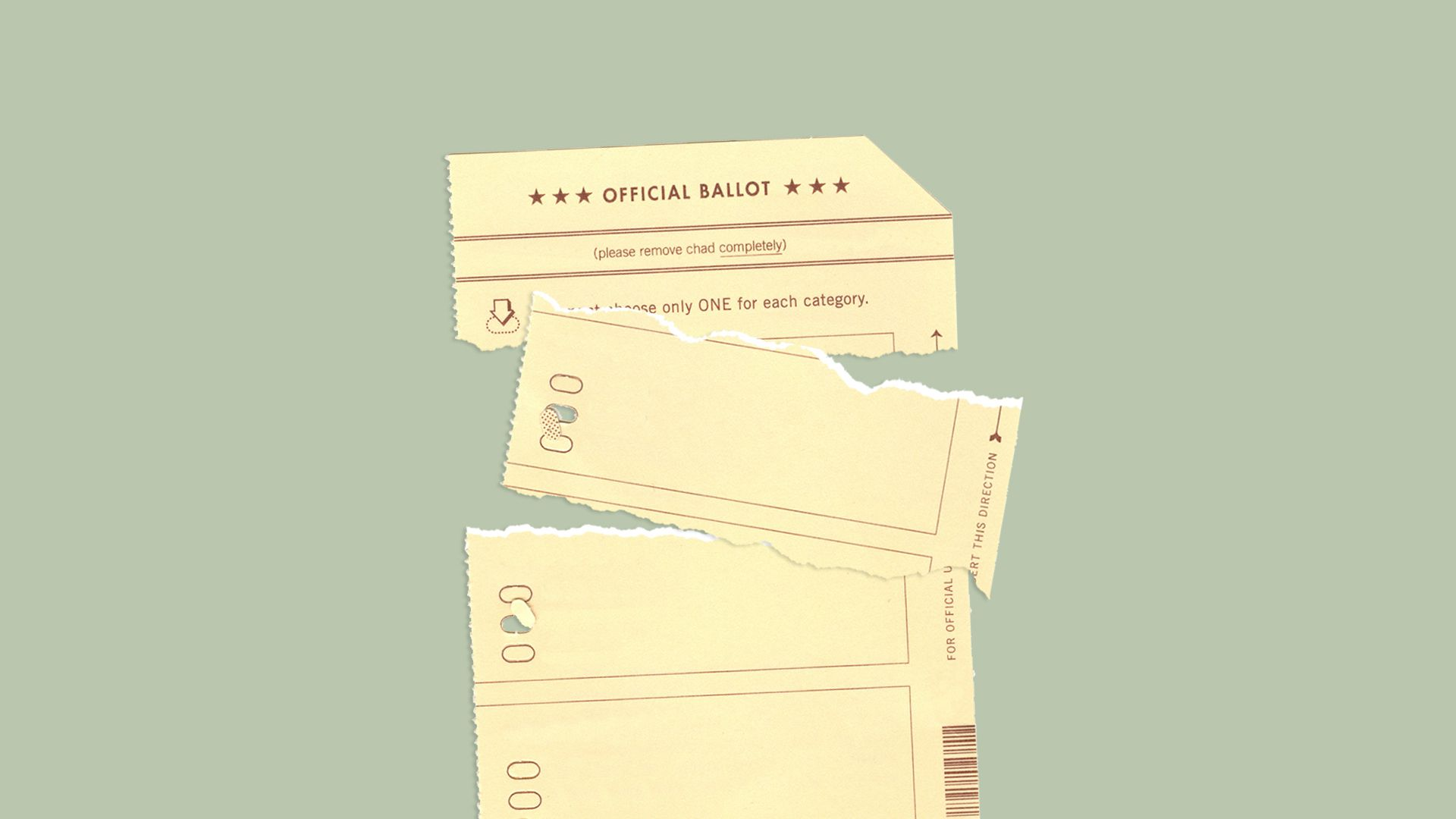 Illustration of ballot with piece torn off.