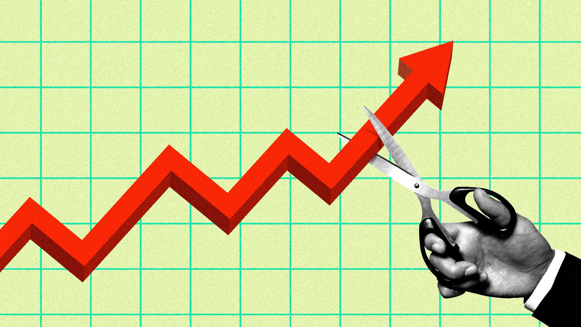 Illustration of graph showing stock arrowing upwards being cut by a hand holding scissors