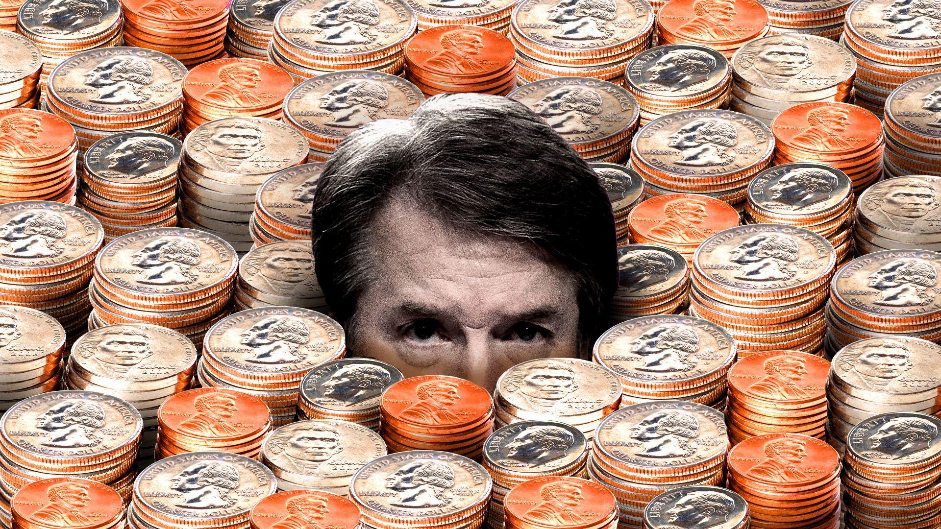 Brett Kavanaugh submerged in coins