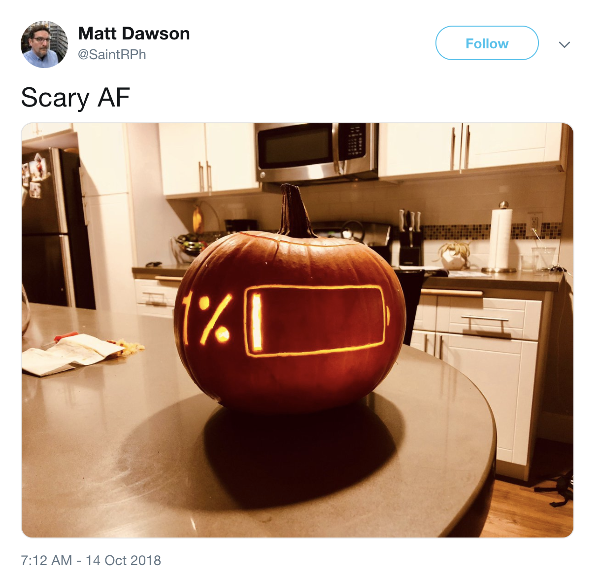 A pumpkin carved with a battery icon showing 1% remaining