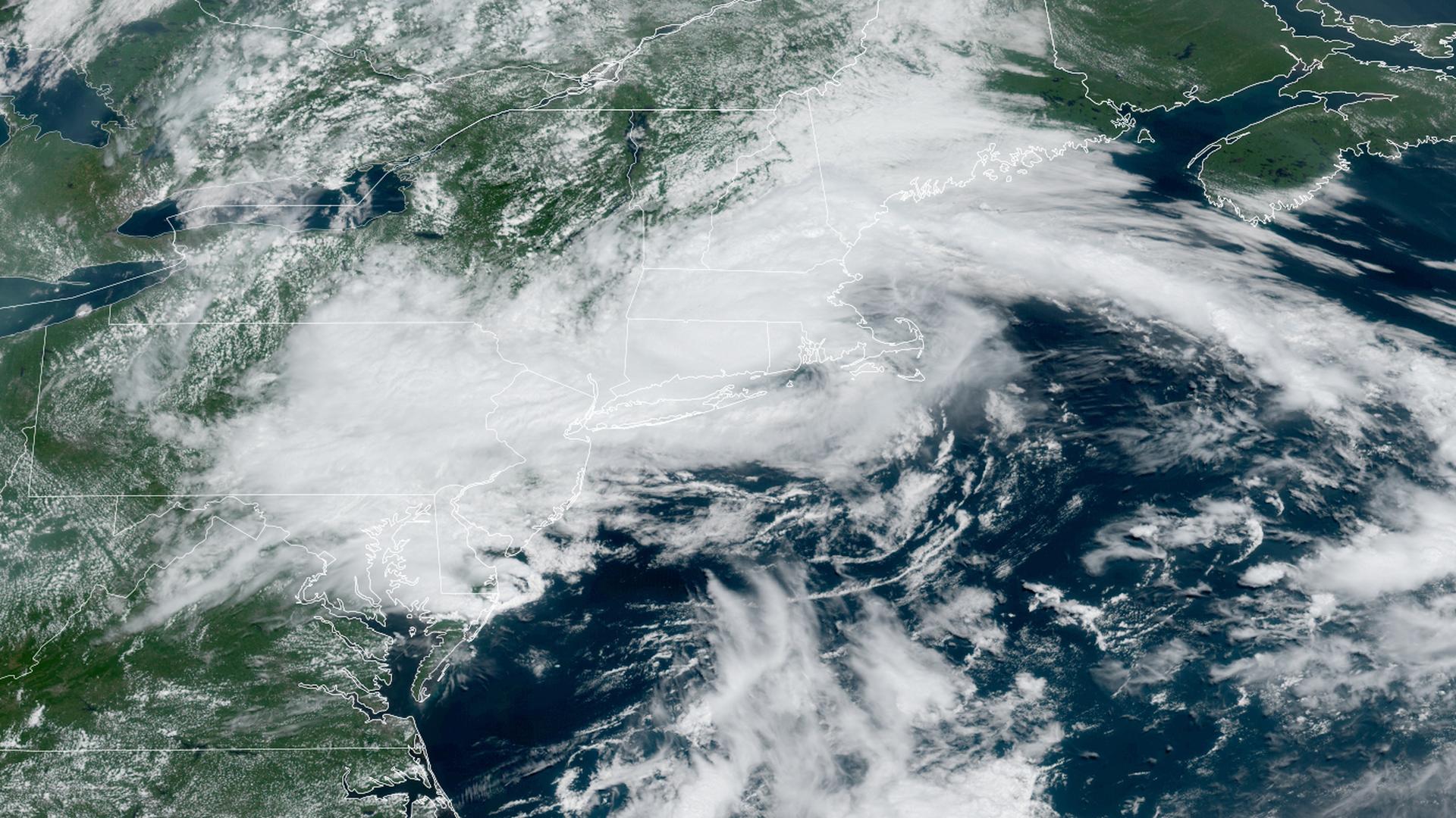 Satellite image shows Henri making landfall in Rhode Island.
