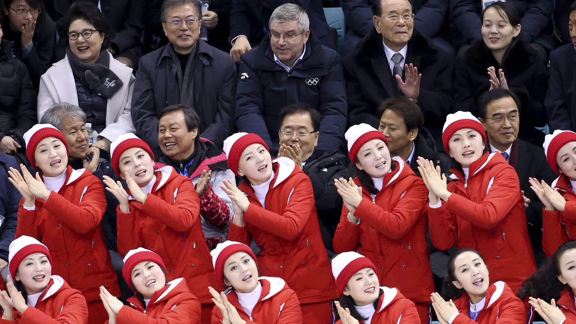 North Korean cheering squad